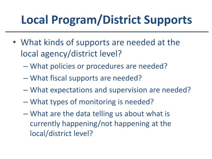 Local Program/District Supports