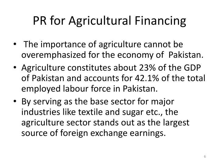 PR for Agricultural Financing