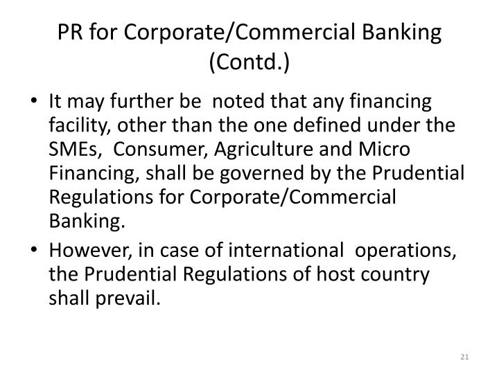 PR for Corporate/Commercial Banking (Contd.)