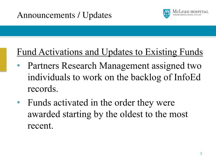 Announcements / Updates