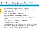 fy12 audit some questions asked