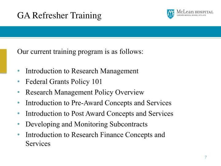 GA Refresher Training