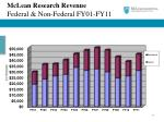 mclean research revenue federal non federal fy01 fy11