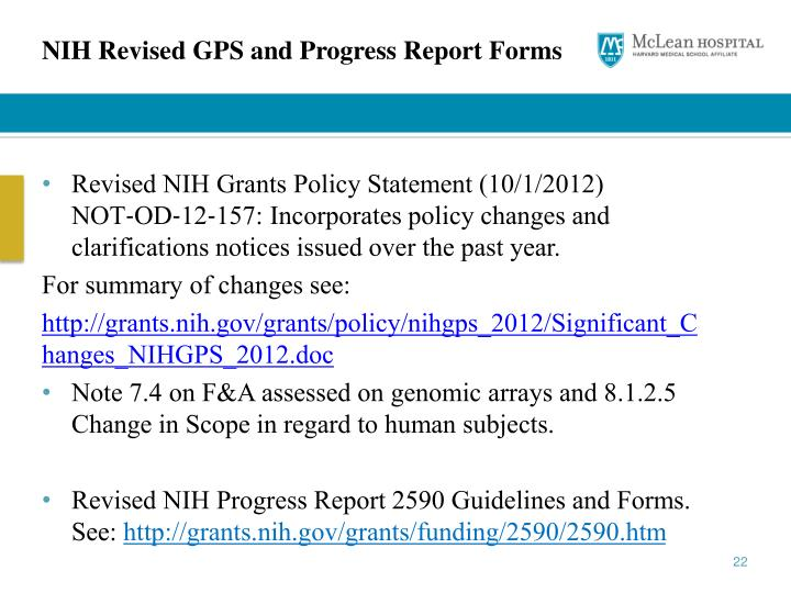 NIH Revised GPS and Progress Report Forms