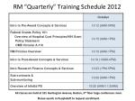 rm quarterly training schedule 2012