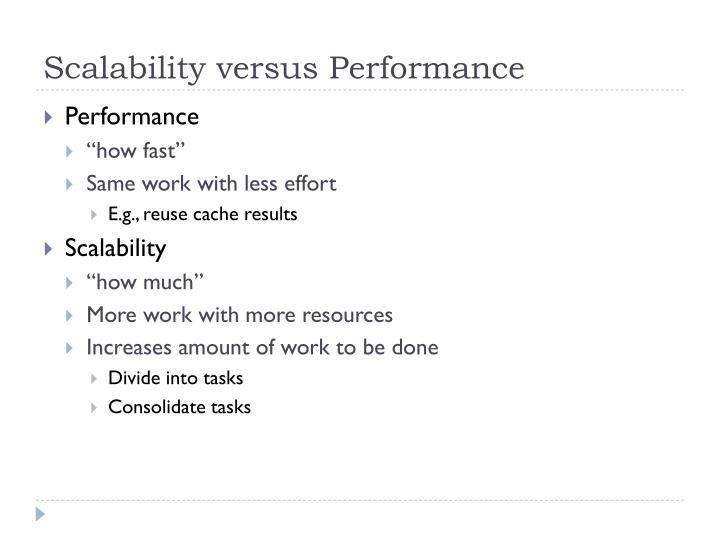 Scalability versus Performance