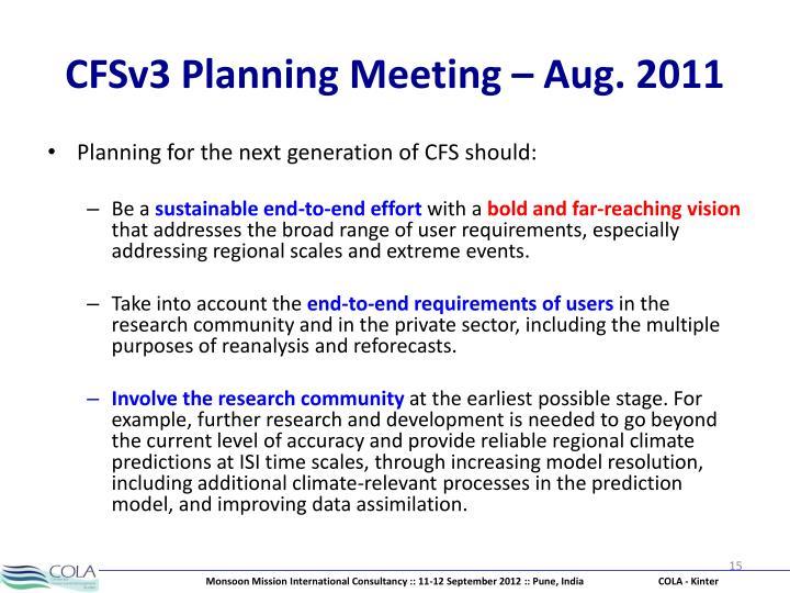 CFSv3 Planning Meeting – Aug. 2011