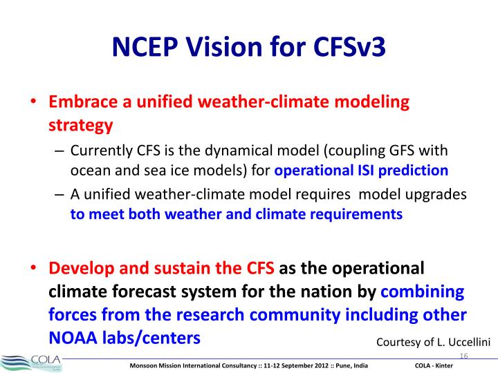 NCEP Vision for