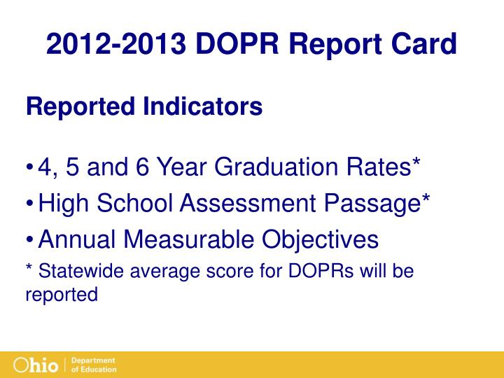 2012-2013 DOPR Report Card