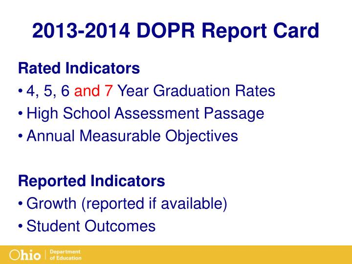 2013-2014 DOPR Report Card