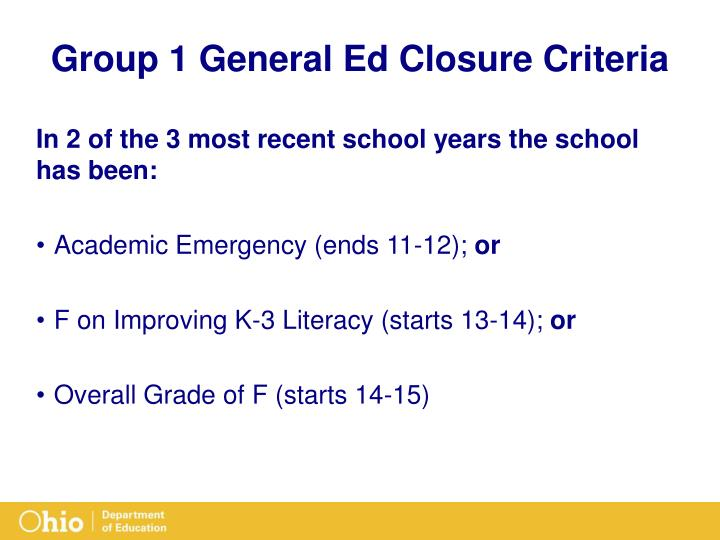 Group 1 General Ed Closure Criteria