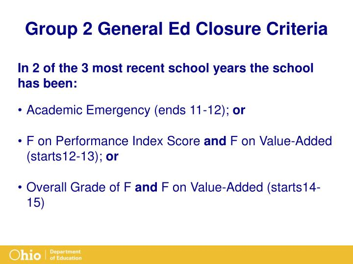 Group 2 General Ed Closure Criteria