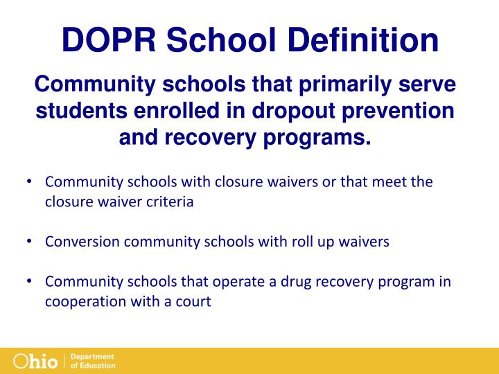 DOPR School Definition