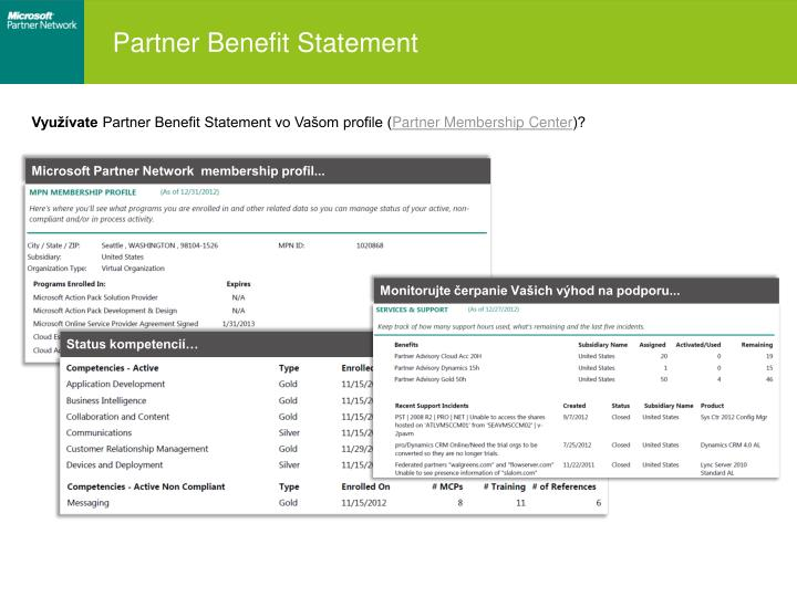 Partner Benefit Statement