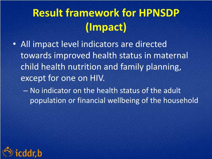 Result framework for HPNSDP (Impact)