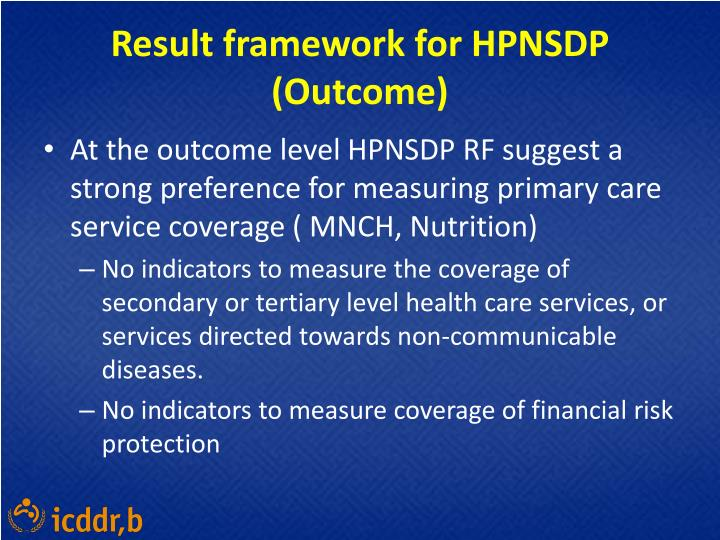 Result framework for HPNSDP (Outcome)