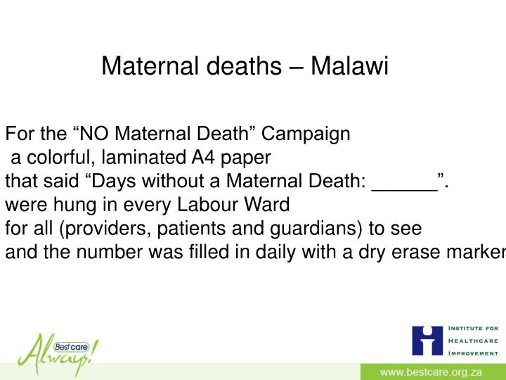 Maternal deaths – Malawi