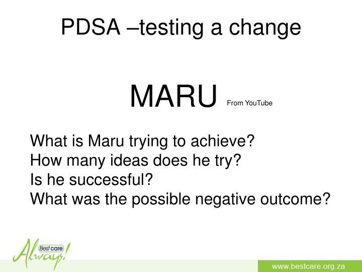 PDSA –testing a change