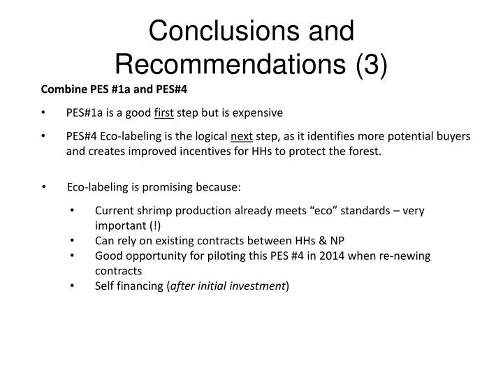Conclusions and Recommendations (3)