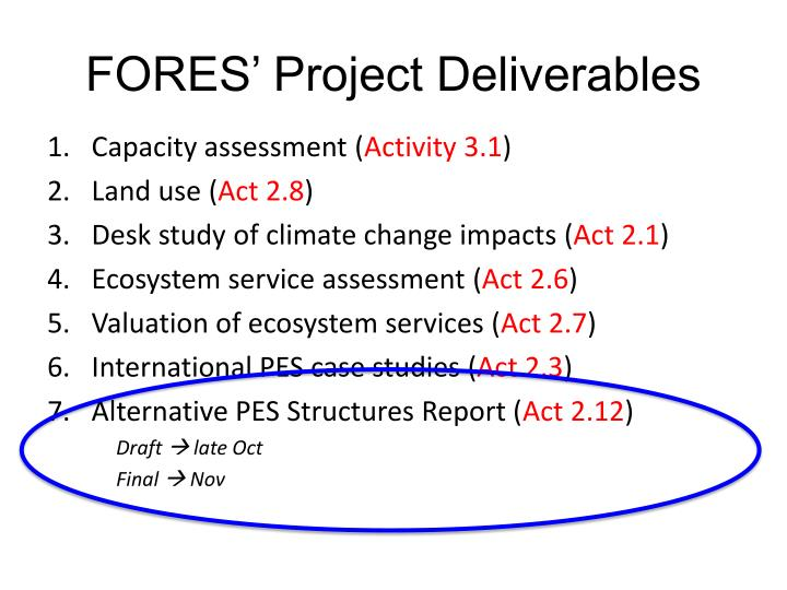 FORES' Project Deliverables