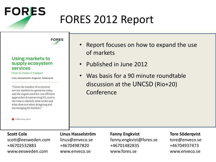 FORES 2012 Report