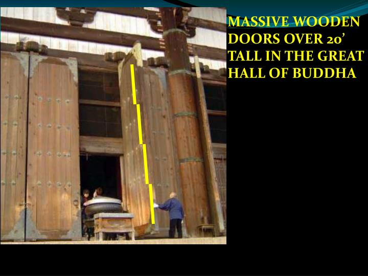 MASSIVE WOODEN DOORS OVER 20' TALL IN THE GREAT HALL OF BUDDHA