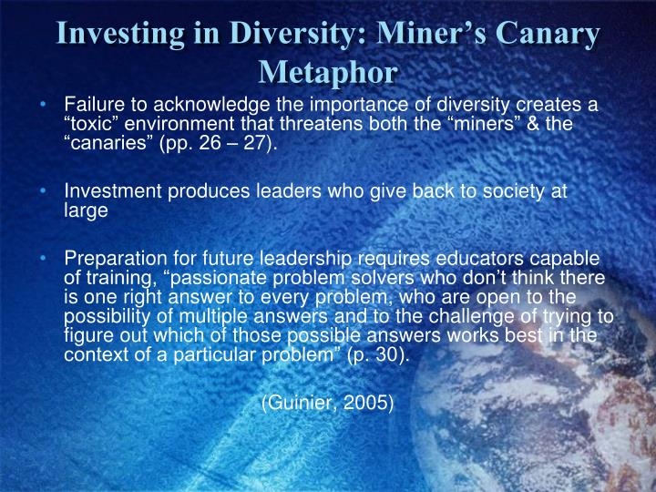 Investing in Diversity: Miner's Canary Metaphor