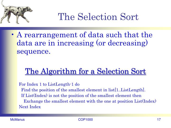 The Selection Sort