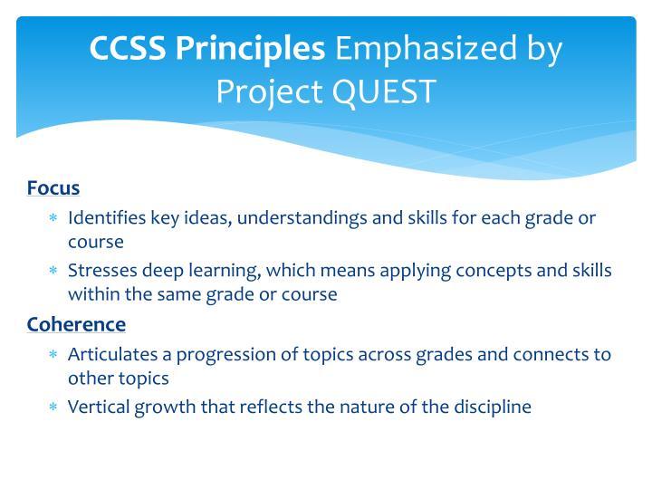 CCSS Principles