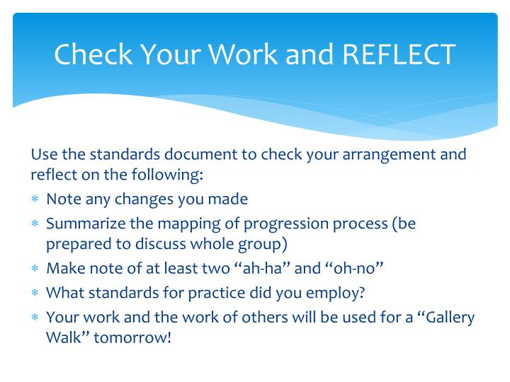 Check Your Work and REFLECT