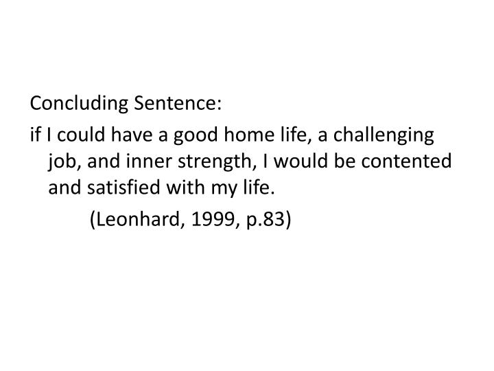 Concluding Sentence: