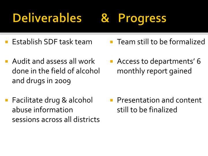 Deliverables       &   Progress