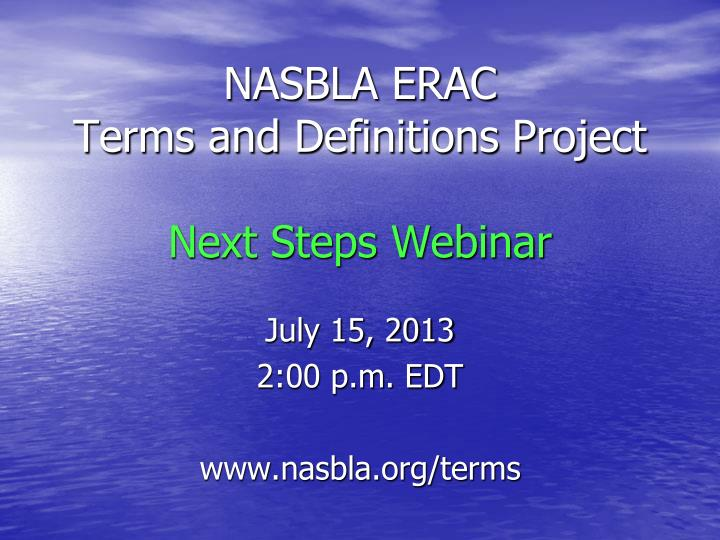 Nasbla erac terms and definitions project next steps webinar
