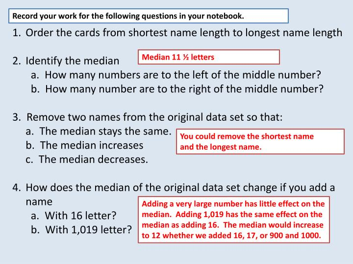 Record your work for the following questions in your notebook.
