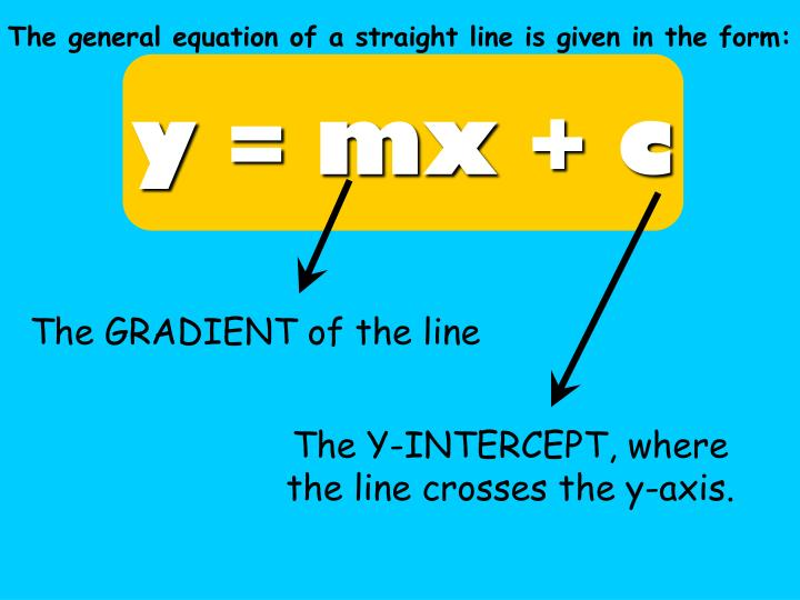 The general equation of a straight line is given in the form: