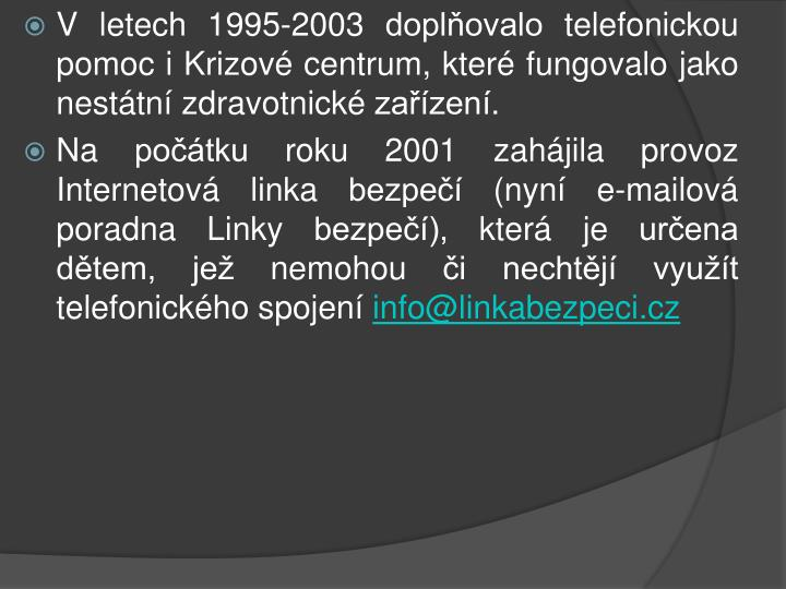 V letech 1995-2003 doplňovalo telefonickou pomoc i Krizové centrum, které fungovalo jako nestátní zdravotnické zařízení.