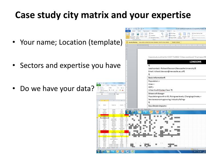 Case study city matrix and your expertise
