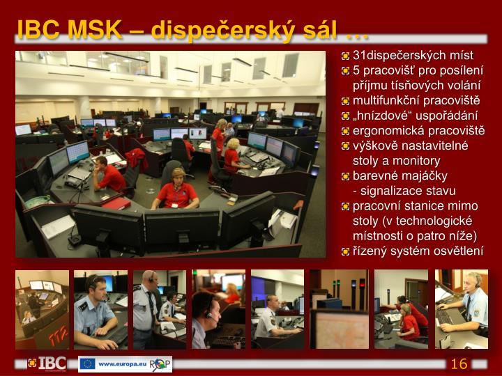 IBC MSK – dispečerský sál