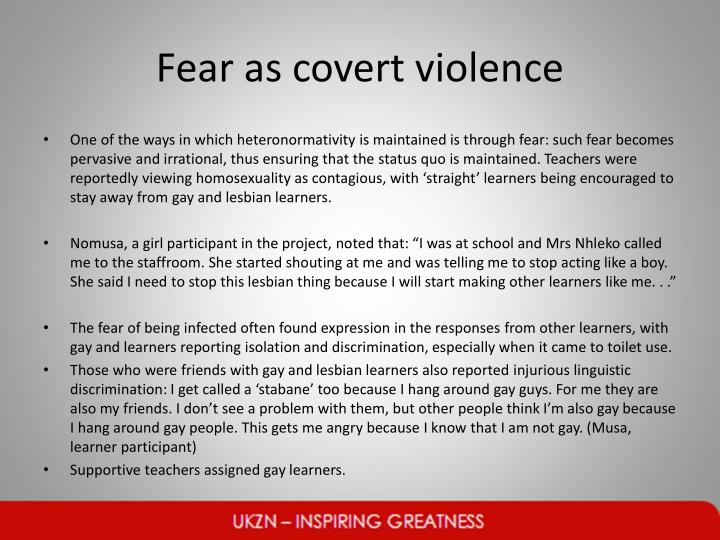 Fear as covert violence