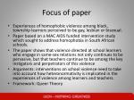 focus of paper
