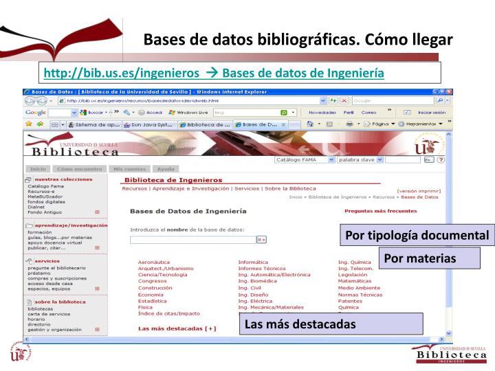 Bases de datos bibliográficas. Cómo llegar
