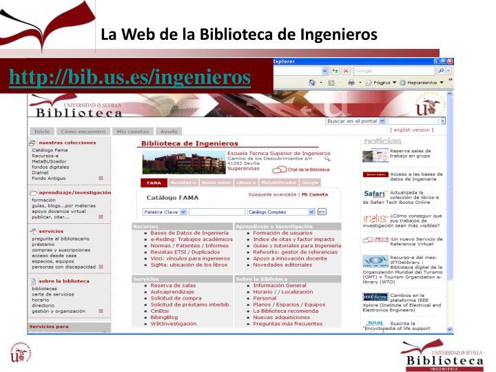 La Web de la Biblioteca de Ingenieros