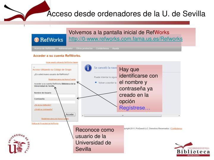 Acceso desde ordenadores de la U. de Sevilla
