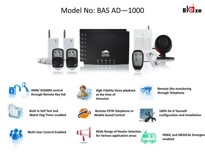 Model No: BAS AD—1000