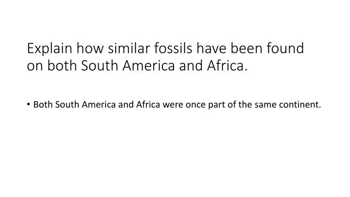 Explain how similar fossils have been found on both south america and africa1