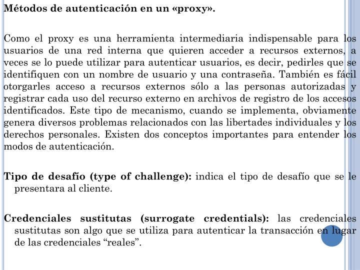 Métodos de autenticación en un «proxy».