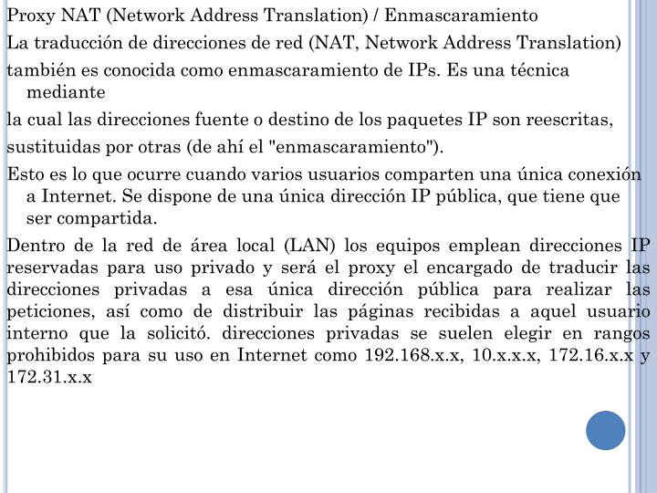 Proxy NAT (Network Address Translation) /