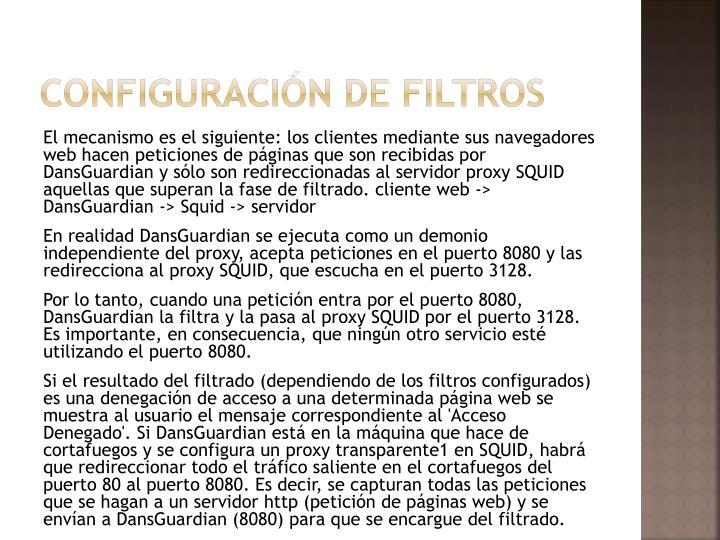 Configuración de filtros