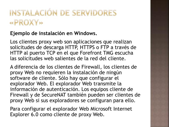 Instalación de servidores «proxy»