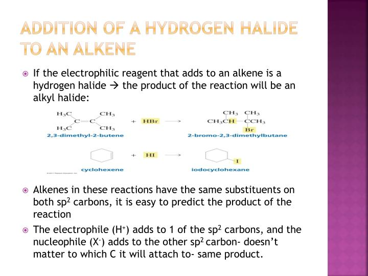 Addition of a hydrogen halide to an